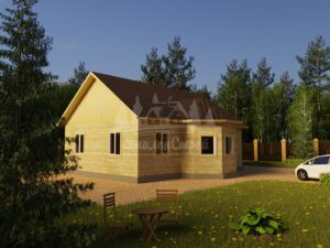 Проект одноэтажного дома с эркером из бруса 8х11 (БР-95-2) Фасад 1
