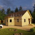 Проект одноэтажного дома с эркером из бруса 8х11 (БР-95-2) Фасад 2