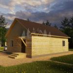 Проект одноэтажного дома с эркером из бруса 8х11 (БР-95-2) Фасад 3