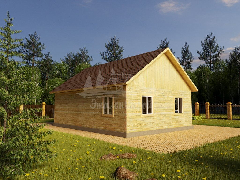Проект одноэтажного дома с эркером из бруса 8х11 (БР-95-2) Фасад 4