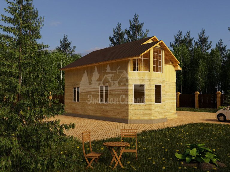 Проект одноэтажного дома с эркером из бруса 8х7,5 (БР-72-2) Фасад 1