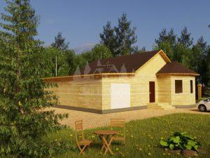 Проект одноэтажного дома с гаражом и эркером из бруса 8х10 (БР-90-1) Фасад 1