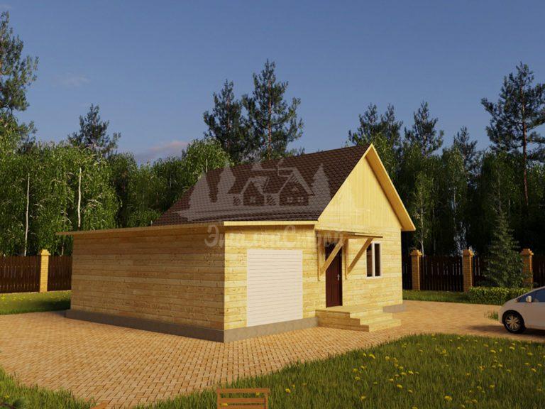 Проект одноэтажного дома с гаражом из бруса 6х8 (БР-48-2) Фасад 1