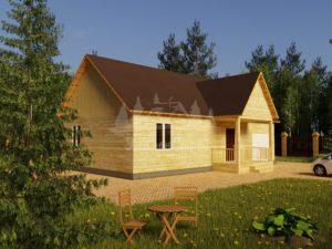 Проект одноэтажного дома с гаражом из бруса 8х10 (БР-80-1) Фасад 1
