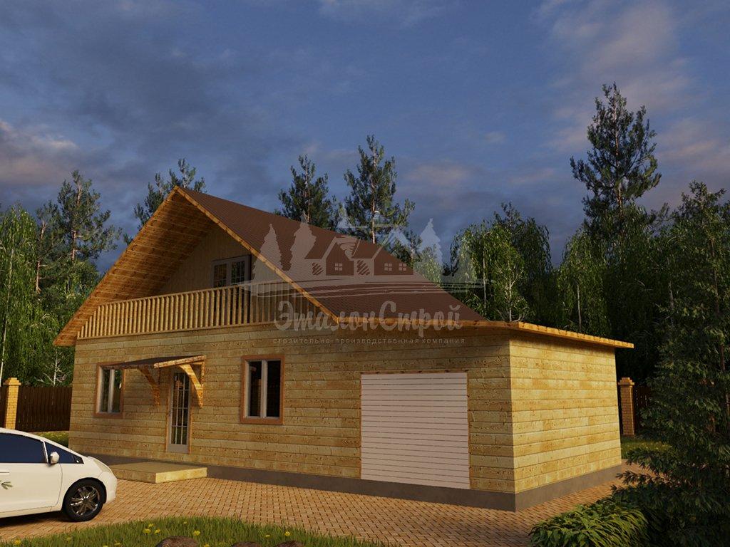 Проект одноэтажного дома с гаражом из бруса 8х10 (БР-80-2) Фасад 2