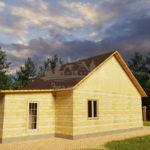 Проект одноэтажного дома с гаражом из бруса 8х10 (БР-80-2) Фасад 3