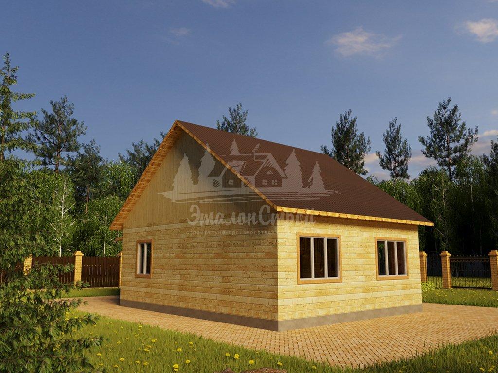 Проект одноэтажного дома с гаражом из бруса 8х10 (БР-80-2) Фасад 4
