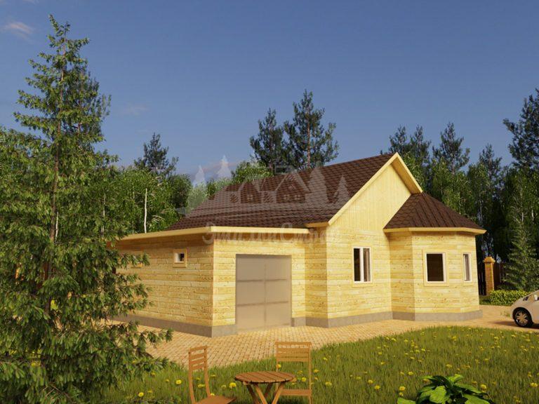 Проект одноэтажного дома с гаражом из бруса 8х10 (БР-88-1) Фасад 1