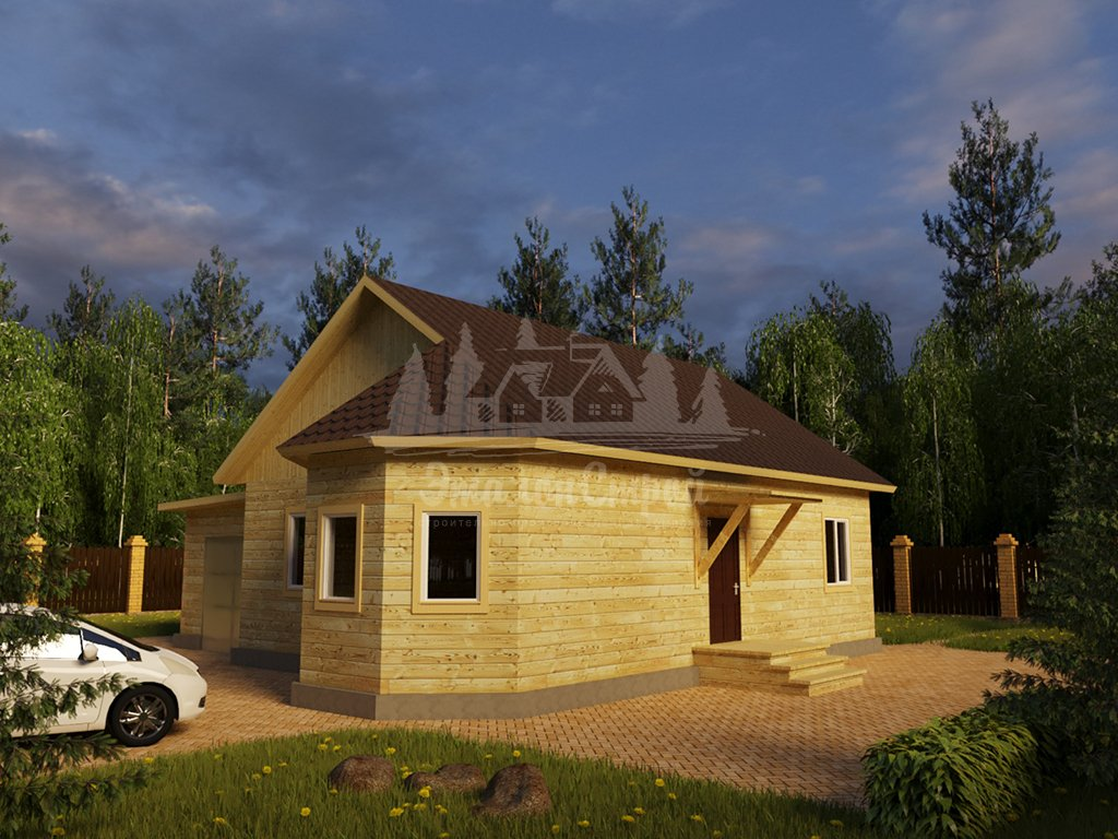 Проект одноэтажного дома с гаражом из бруса 8х10 (БР-88-1) Фасад 2