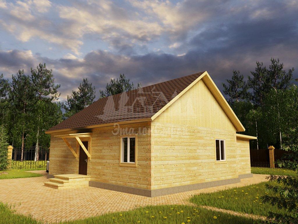 Проект одноэтажного дома с гаражом из бруса 8х10 (БР-88-1) Фасад 3