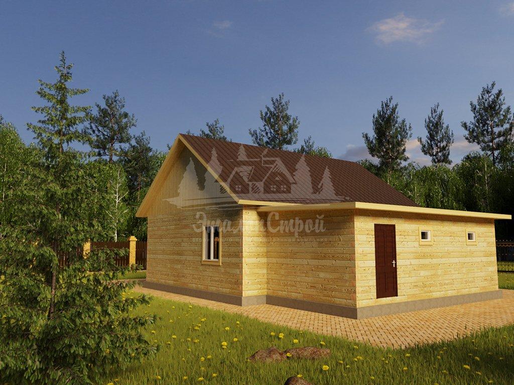 Проект одноэтажного дома с гаражом из бруса 8х10 (БР-88-1) Фасад 4