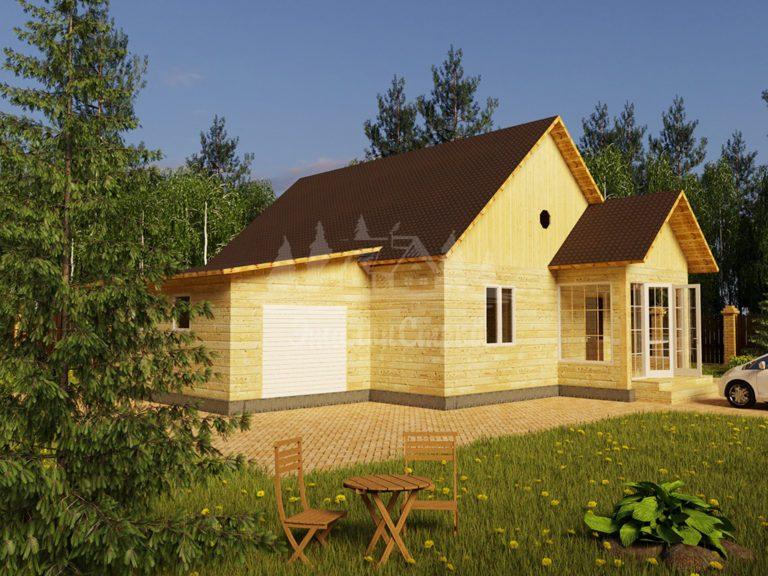 Проект одноэтажного дома с гаражом из бруса 8х10,5 (БР-84-1) Фасад 1