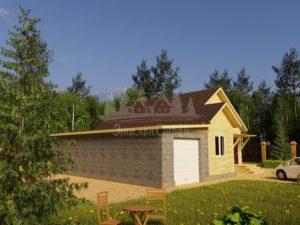 Проект одноэтажного дома с гаражом из бруса 8х11,7 (БР-90-2) Фасад 1