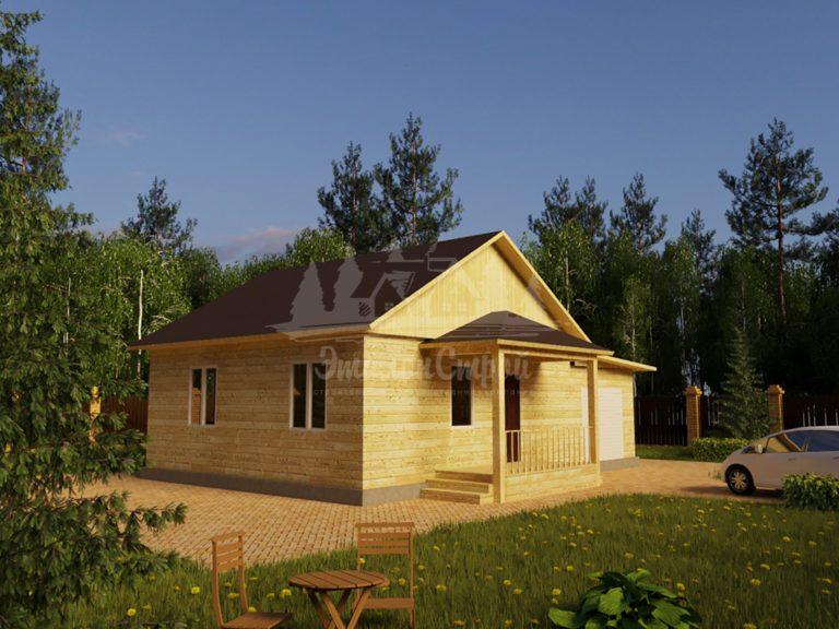 Проект одноэтажного дома с гаражом из бруса 8х8 (БР-64-2) Фасад 1