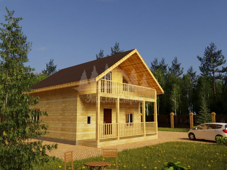 Проект одноэтажного дома с летней мансардой из бруса 8х8 (БР-64-5) Фасад 1