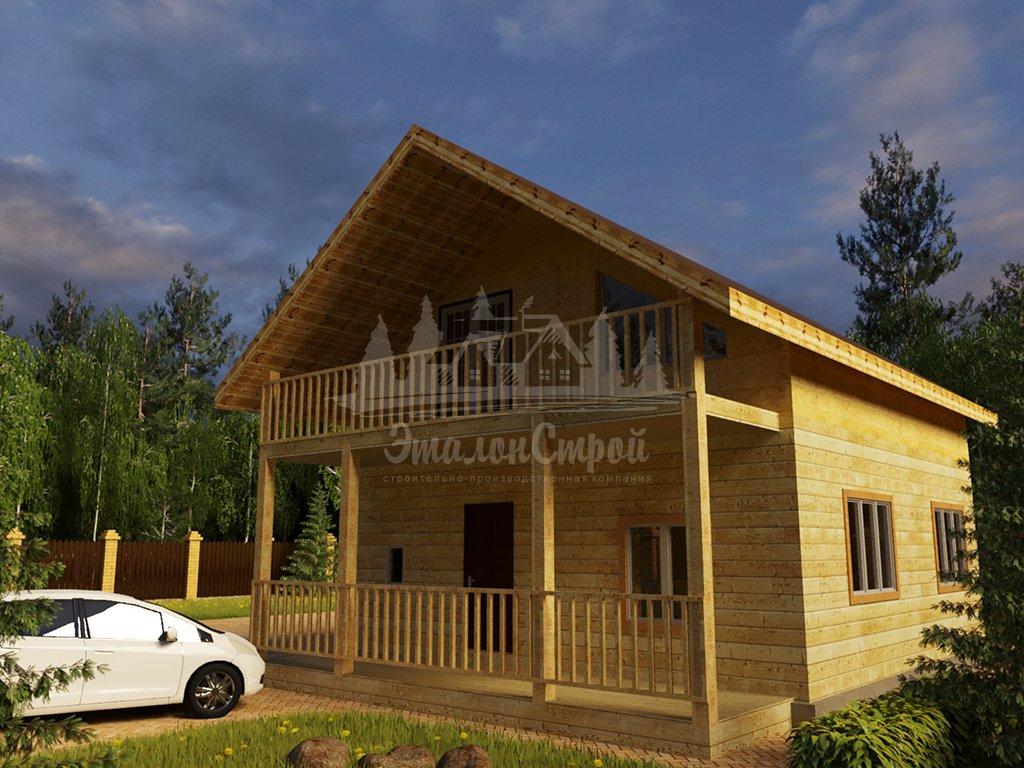 Проект одноэтажного дома с летней мансардой из бруса 8х8 (БР-64-5) Фасад 2
