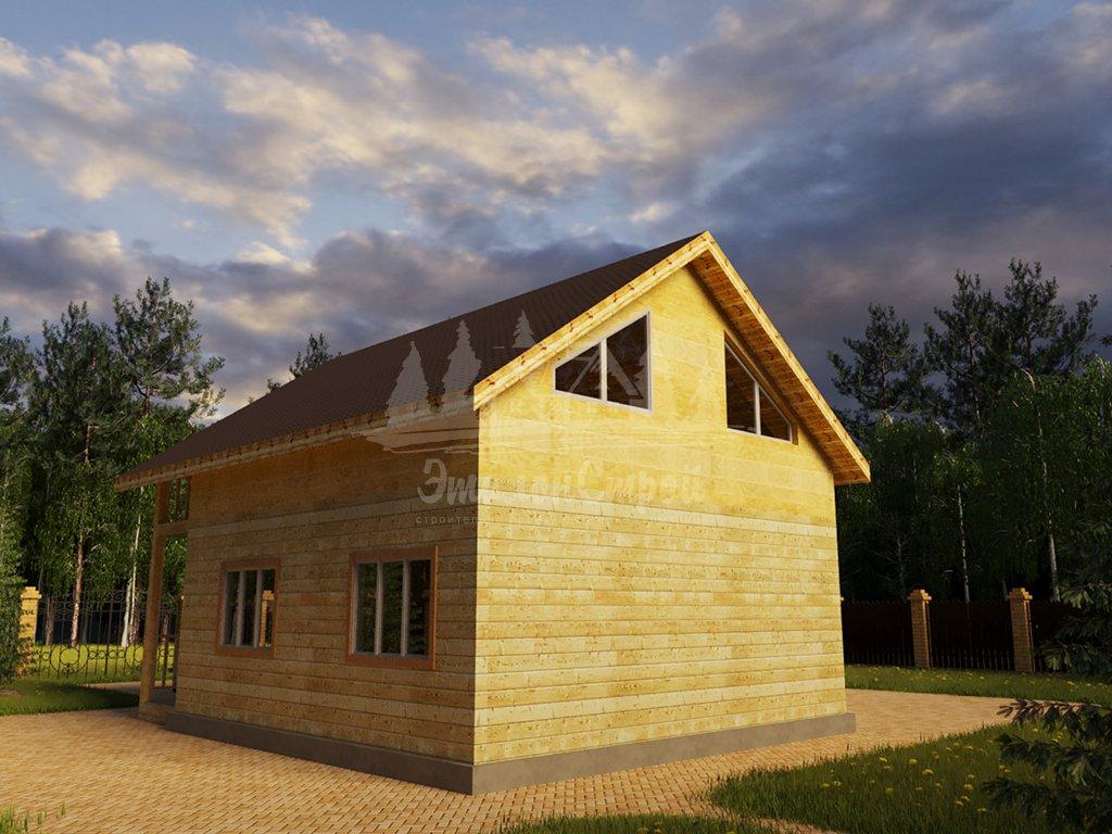 Проект одноэтажного дома с летней мансардой из бруса 8х8 (БР-64-5) Фасад 3