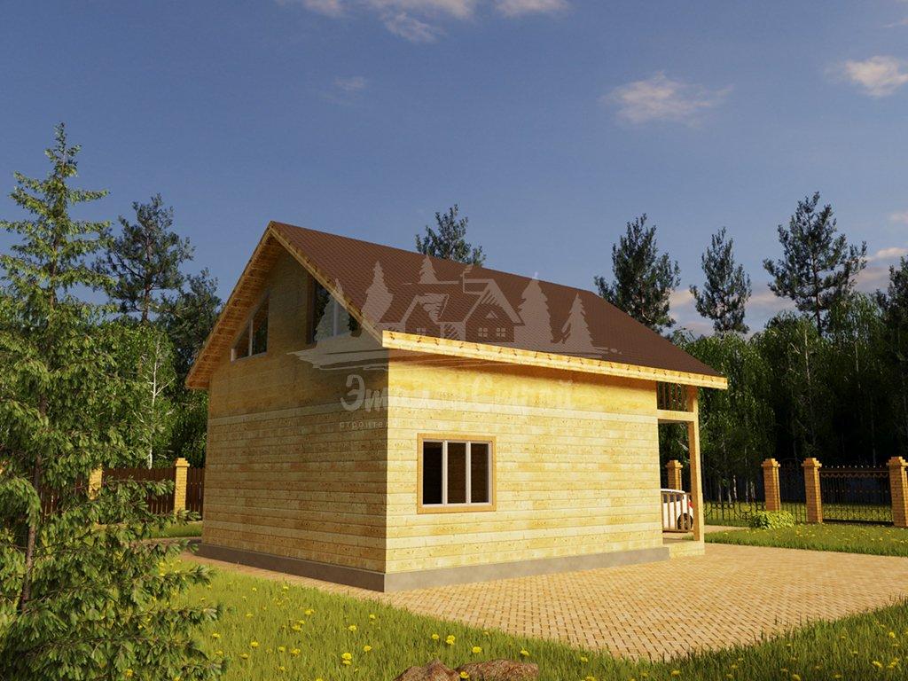 Проект одноэтажного дома с летней мансардой из бруса 8х8 (БР-64-5) Фасад 4