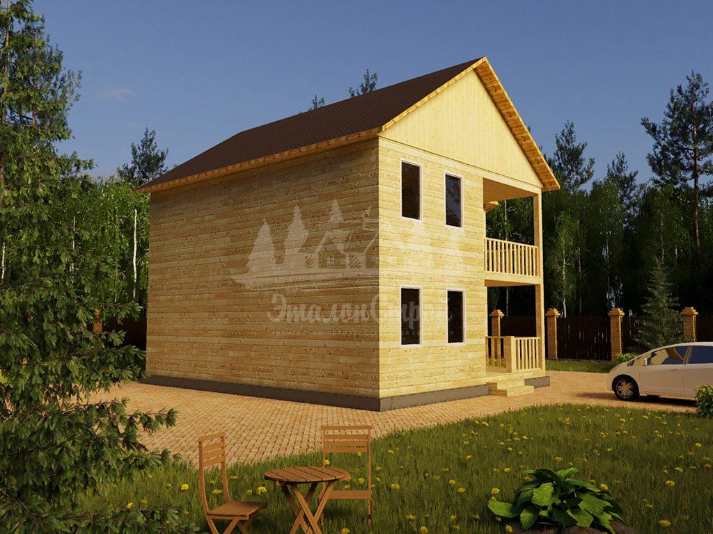 Проект двухэтажного дома из бруса 10х10,6 с эркером (БР-148-2)
