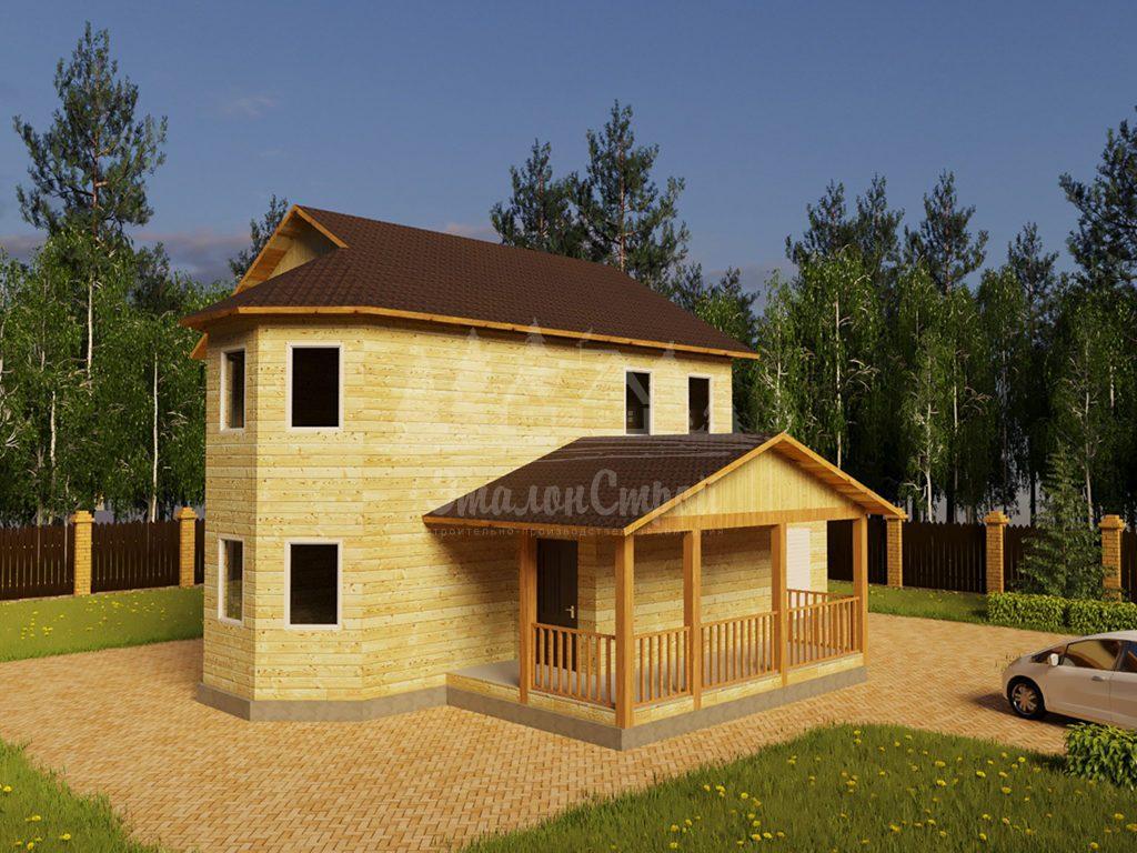 Проект двухэтажного дома из бруса 10х10,5 с гаражом и эркером (БР-157-1)