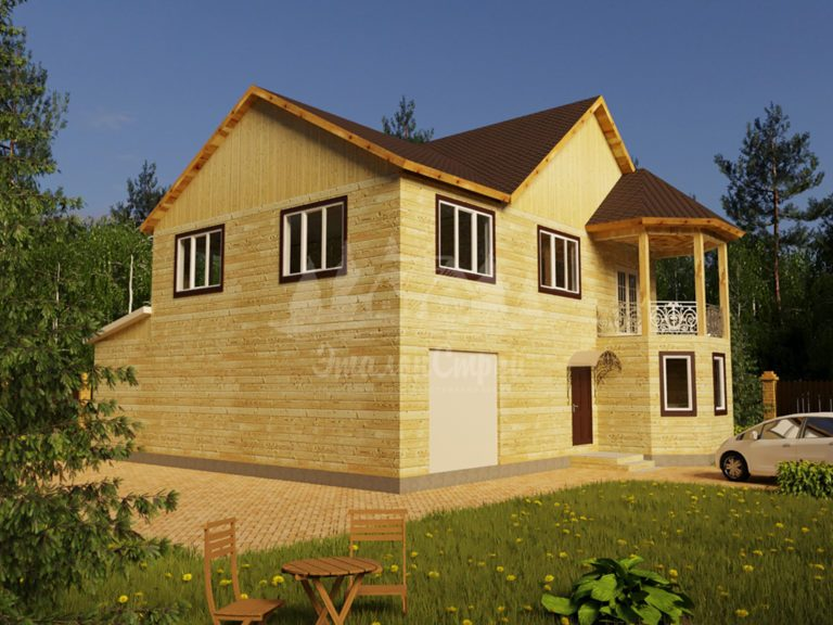Проект двухэтажного дома из бруса 11х12 с гаражом (БР-230-1) Фасад 1