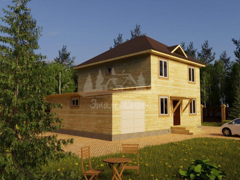 Проект двухэтажного дома из бруса 7,6х10 с гаражом (БР-160-1) Фасад 1