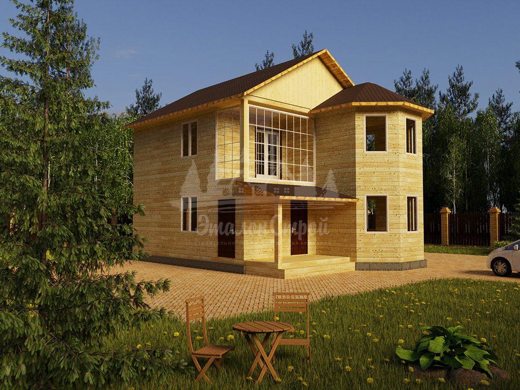 Проект двухэтажного дома из бруса 8х10 с эркером (БР-146-1)