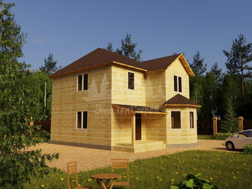 Проект двухэтажного дома из бруса 8х11,1 с эркером (БР-148-1)