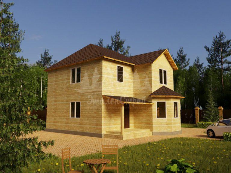 Проект двухэтажного дома из бруса 8х11,1 (БР-148-1) Фасад 1