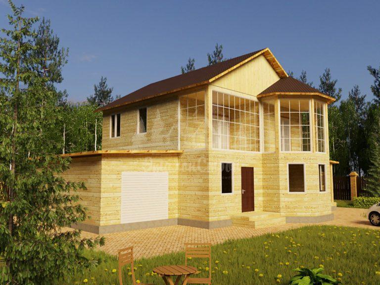 Проект двухэтажного дома из бруса 8х11,1 с гаражом (БР-152-1) Фасад 1