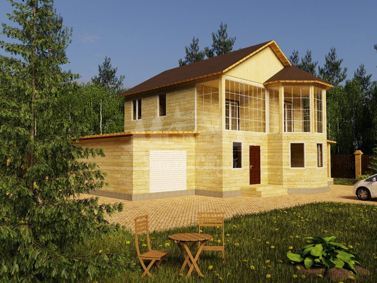 Проект двухэтажного дома из бруса 8х11,1 с гаражом (БР-152-2) Фасад 1