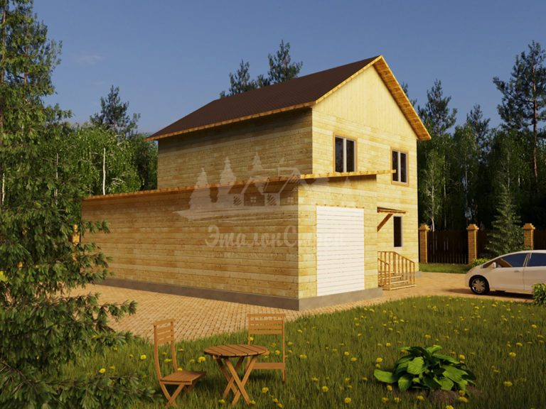 Проект двухэтажного дома из бруса 8х9,5 с гаражом (БР-152-3) Фасад 1