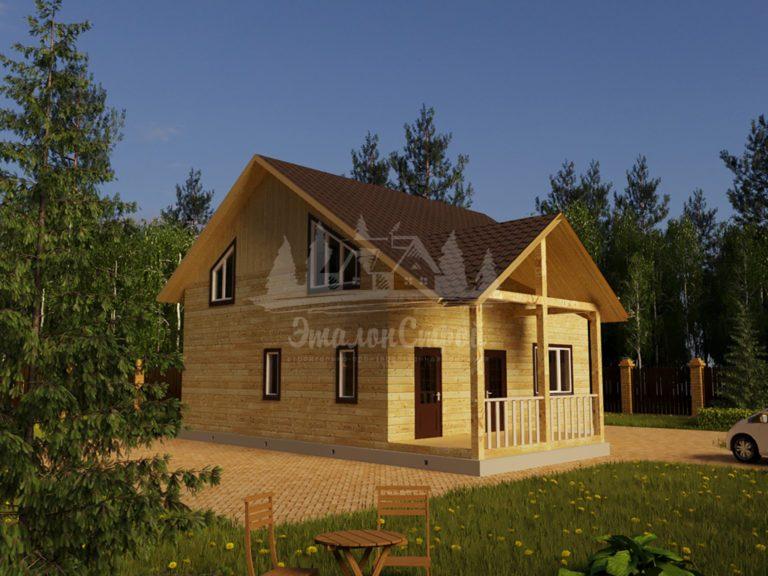 Проект двухэтажного дома из бруса 9х9 (БР-162-1) Фасад 1