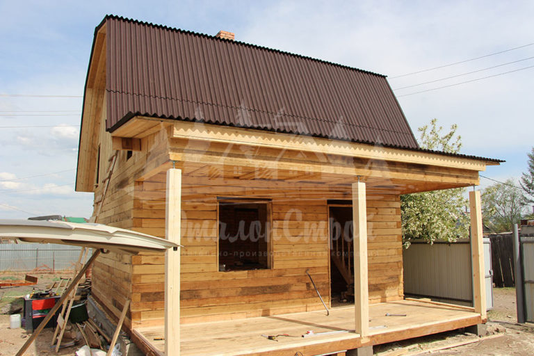 Дом из бруса 36 м2 с мансардой Готовая работа 2 ЭталонСтрой