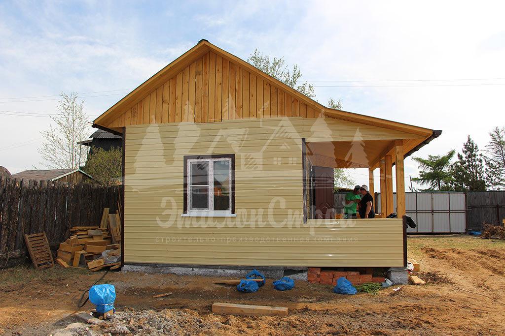 Дом по каркасной технологии 24м2 с террасой