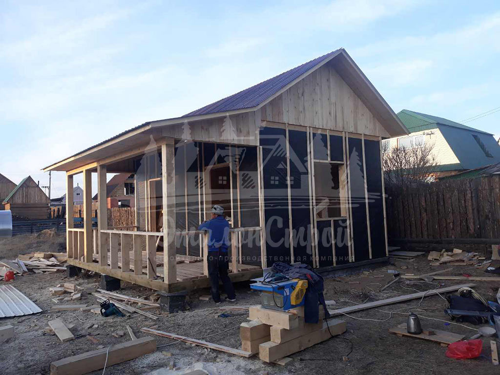 Дом по карскасной технологии 24 м2 Утепление и печка 1 ЭталонСтрой