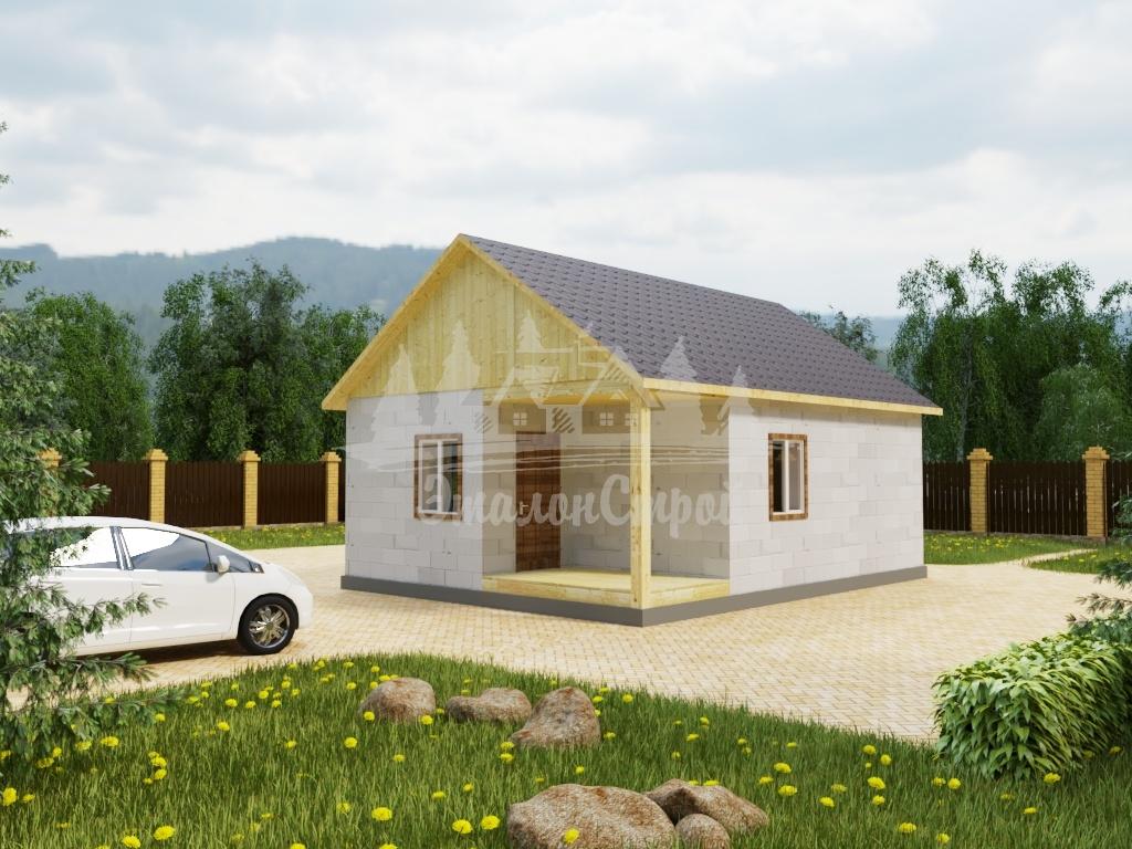 Проект одноэтажного дома из газобетона 7х8 м (ГБ-56-1)