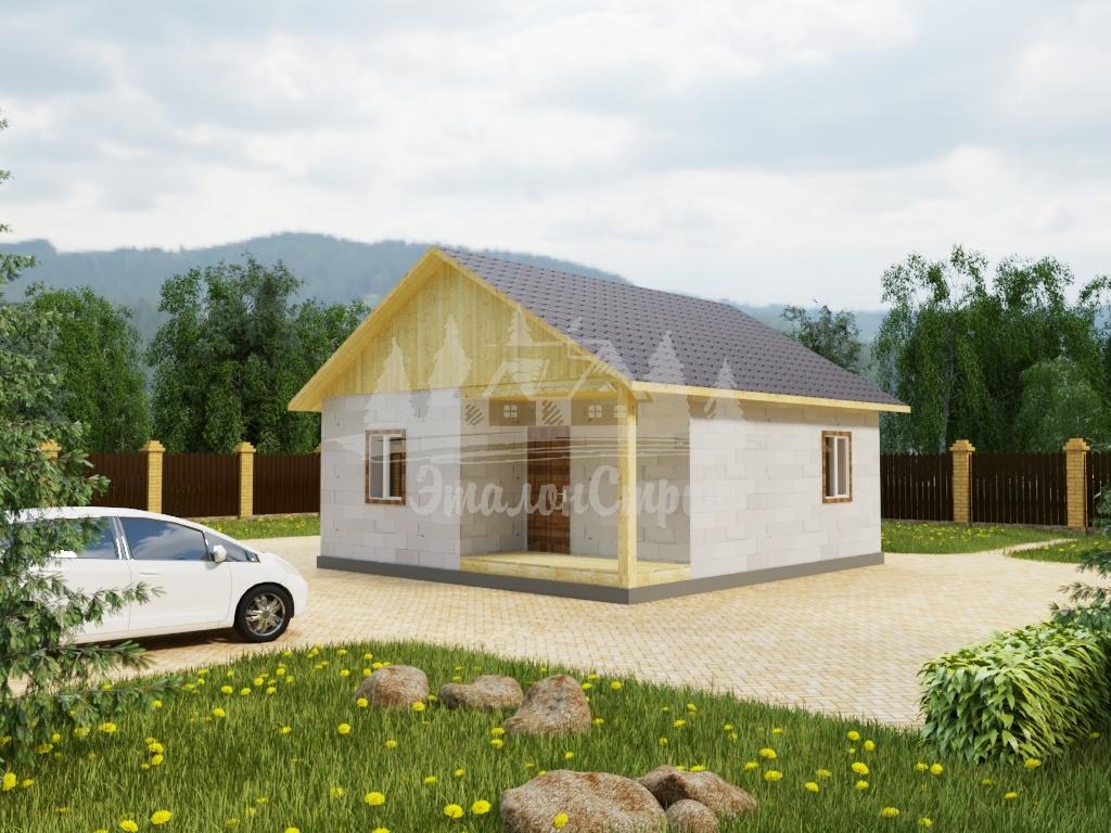 Проект одноэтажного дома из газобетона 7,9х7,4 м (ГБ-58-1)