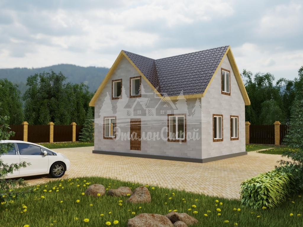 Проект двухэтажного дома из газобетона 9,4х6,4м (ГБ-120-2)