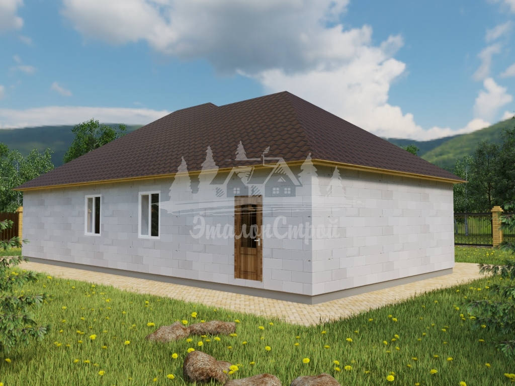 Проект одноэтажного дома из газобетона 9,5х16 м (ГБ-115-1)