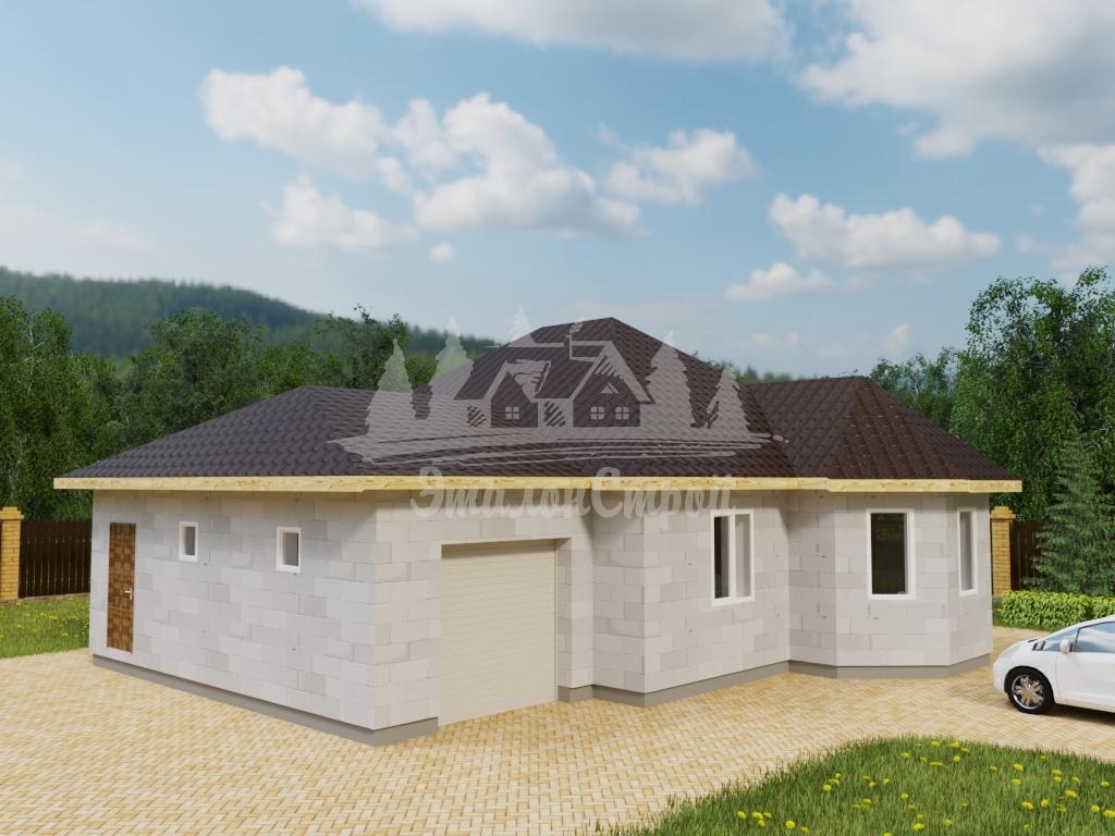 Проект одноэтажного дома из газобетона 11х12 м (ГБ-95-1)