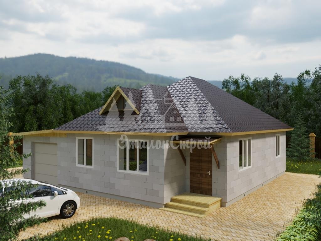 Проект одноэтажного дома из газобетона 11,7х12 м (ГБ-98-1)