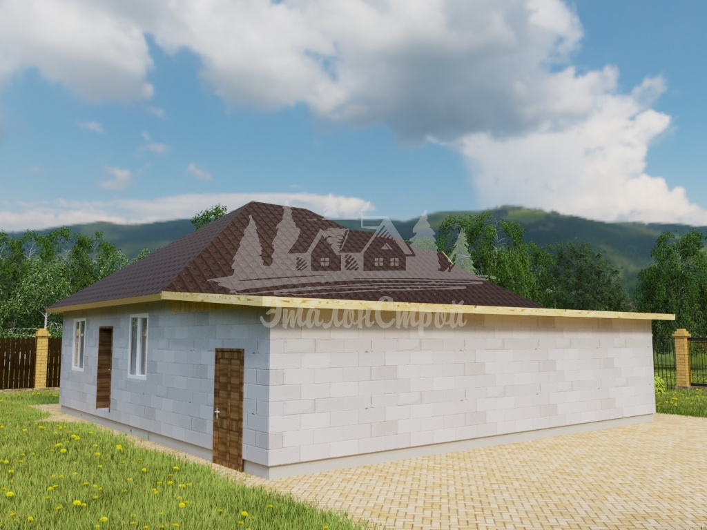 Проект одноэтажного дома из газобетона 11,7х12 м (ГБ-98-1) (Копировать)
