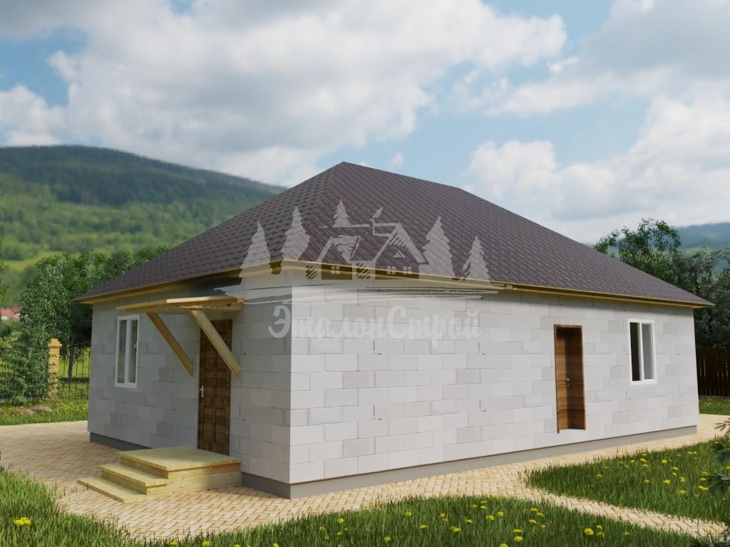 Проект одноэтажного дома из газобетона 8х12 м (ГБ-112-1)