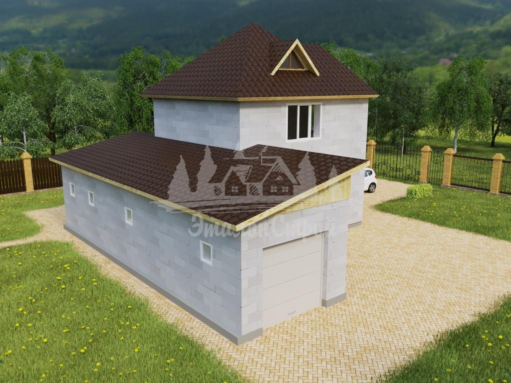 Проект двухэтажного дома из газобетона 11,84х13,22 м (ГБ-103-1)