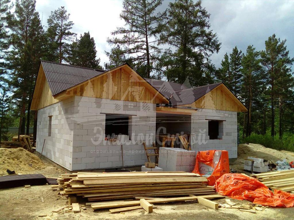 Построенный дом из газобетона 110 м2 готовая работа 5 ЭталонСтрой