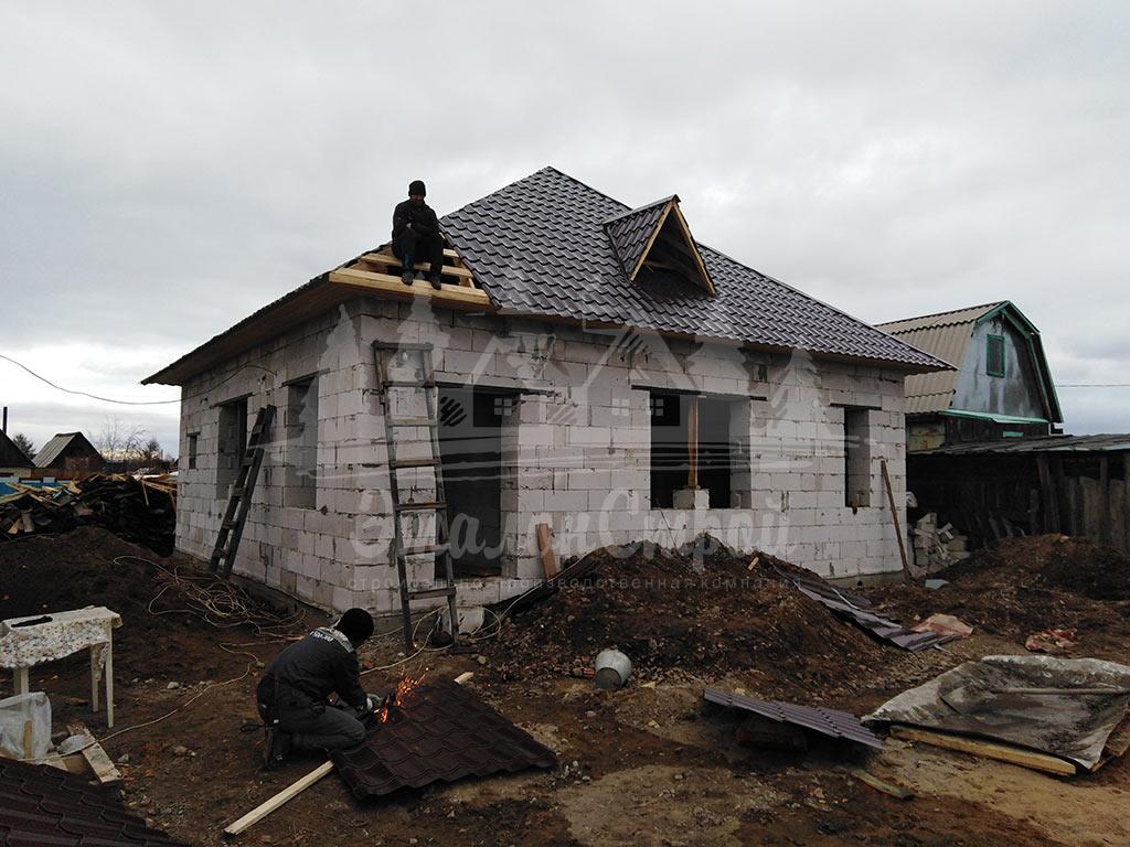 Построенный дом в 2018 с реконструкцией из газобетона Готовая работа ЭталонСтрой