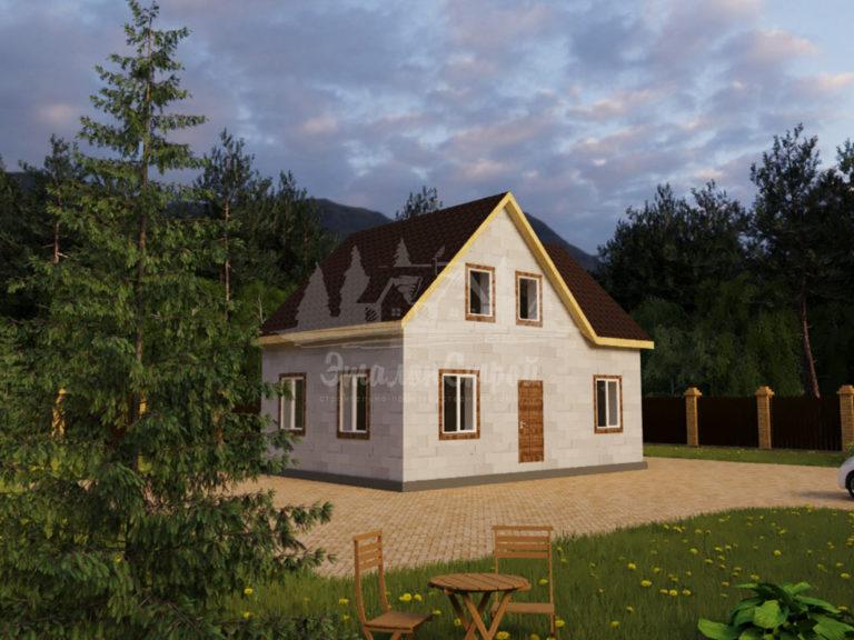 Проект двухэтажного дома из газобетона 9,4х6,4м (ГБ-120-2) Фасад 1