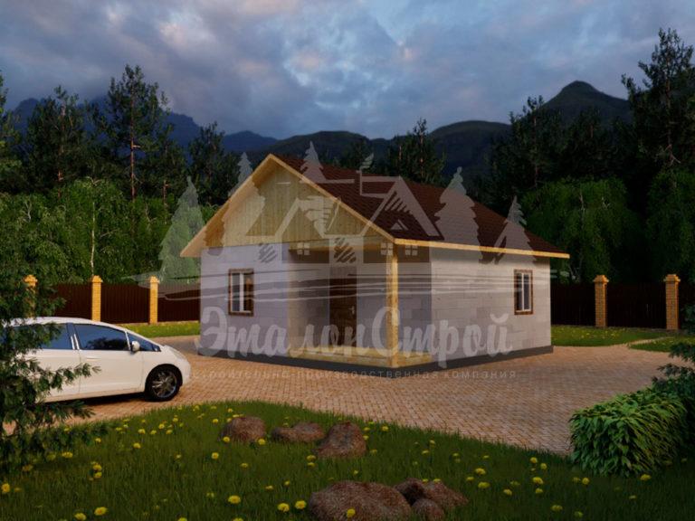 Проект одноэтажного дома из блоков 7,9х7,4 м (ГБ-58-1) Фасад 2