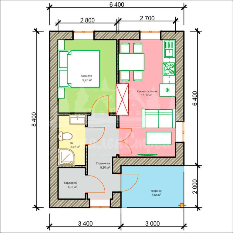 Проект одноэтажного дома из блоков 8,4х6,4 м (ГБ-48-1) Планировка